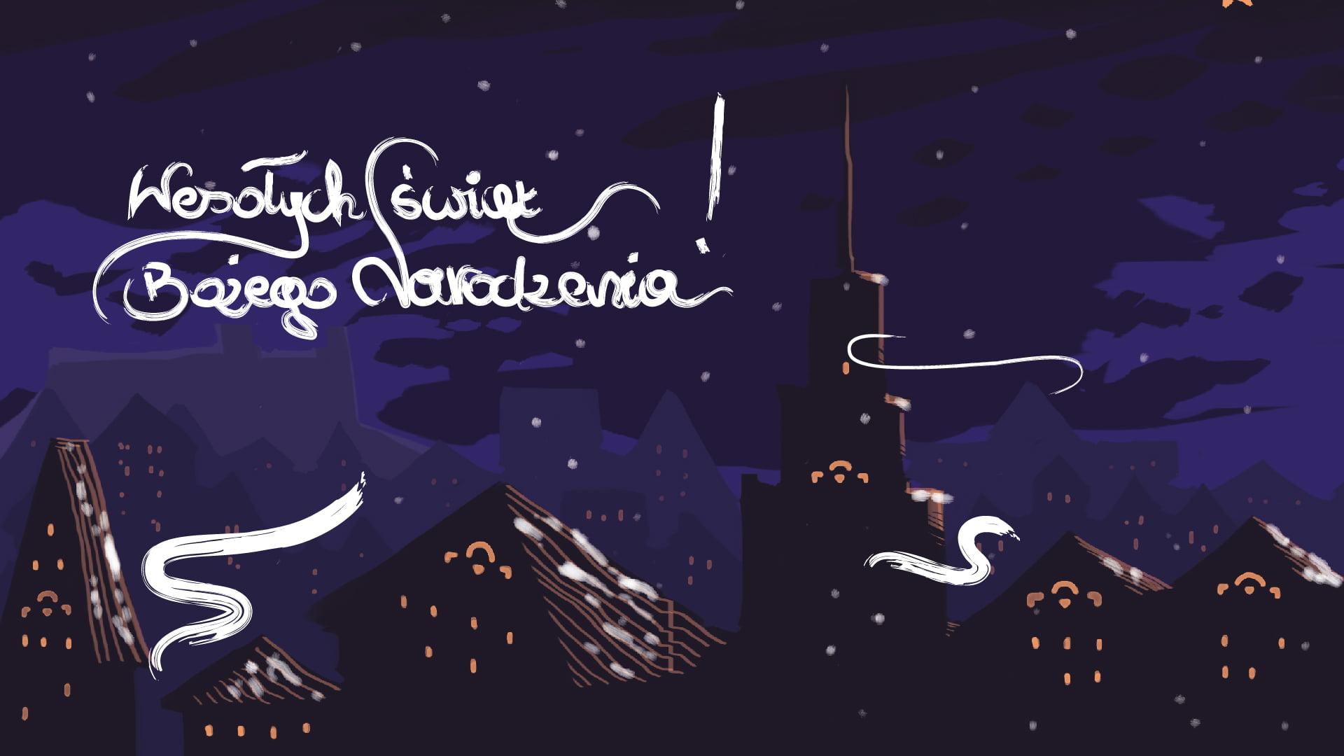 kartka świąteczna. U góry po lewej stronie stylizowany napis Wesołych świąt Bożego Narodzenia. Ciemnoniebieskie tło, po prawej stronie u góry spadająca gwiazda. W dole miasto z wieloma budynkami i wieżą na środku